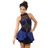 Figure skating dress - blue - halter-neck - diamante 1